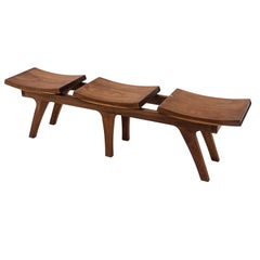 Tripot, Solid Walnut Bench with Three Seats