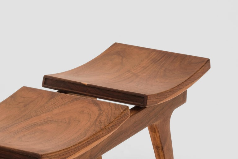 Mexican Tripot Solid Walnut Bench with Two Seats For Sale