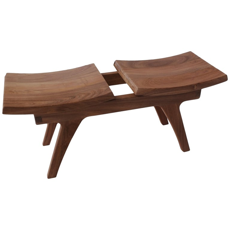 Tripot Solid Walnut Bench with Two Seats For Sale