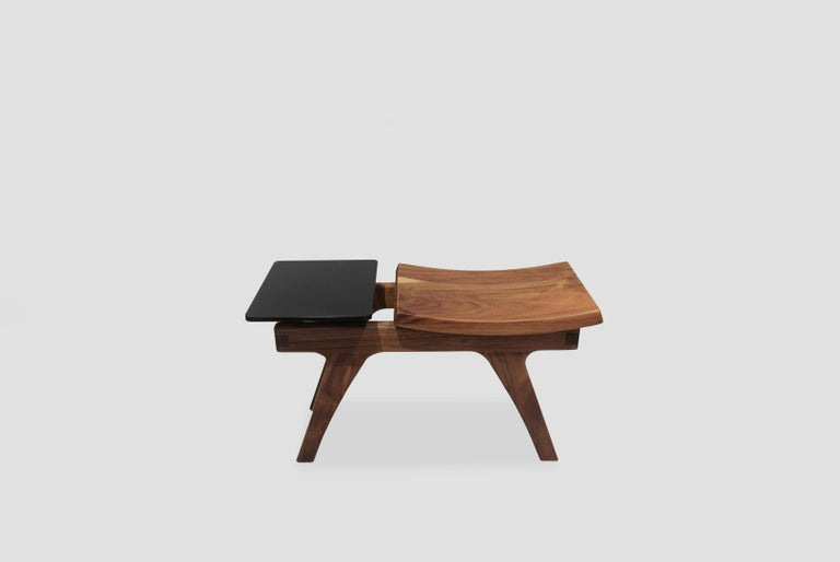Tripot is a walnut stool designed by Arturo Verástegui for Breur Estudio. This piece is part of Diseño y Ebanistería, Breur Estudio first ever collection, in which they collaborated with top designers to achieve exceptional pieces.