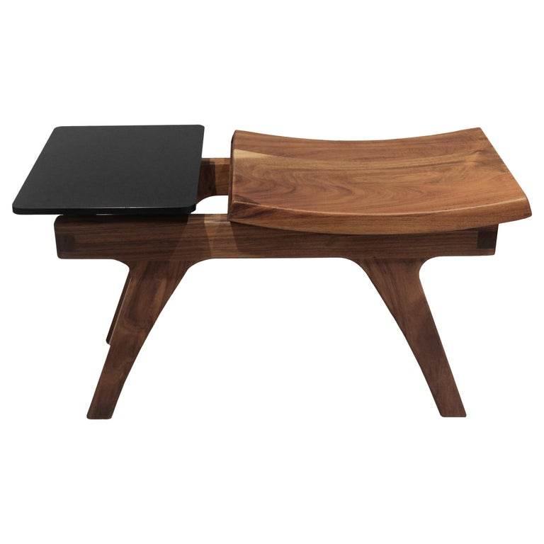 Tripot Solid Walnut Stool For Sale