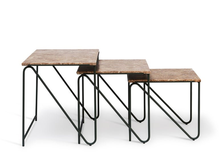 Triptych literally means 'threefold'. This table has been particularly inspired by Francis Bacon, who used the form to show a single subject in three different ways. The three components can make up a distinct unity, nested like a matryoshka doll (a