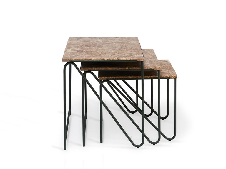 Modern Triptych Nesting Tables in Monaco Brown Marble with Cedar Green Frame For Sale