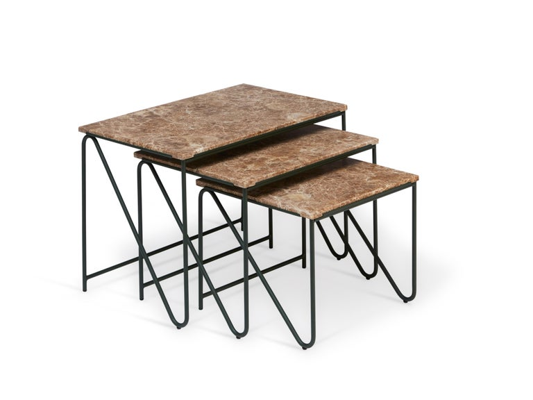 Danish Triptych Nesting Tables in Monaco Brown Marble with Cedar Green Frame For Sale