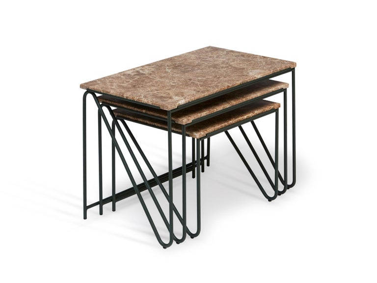Triptych Nesting Tables in Monaco Brown Marble with Cedar Green Frame In New Condition For Sale In New York, NY