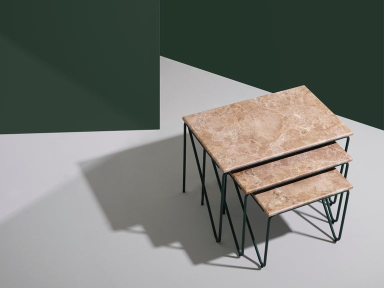 Triptych Nesting Tables in Monaco Brown Marble with Cedar Green Frame For Sale 3