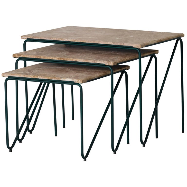Triptych Nesting Tables in Monaco Brown Marble with Cedar Green Frame For Sale