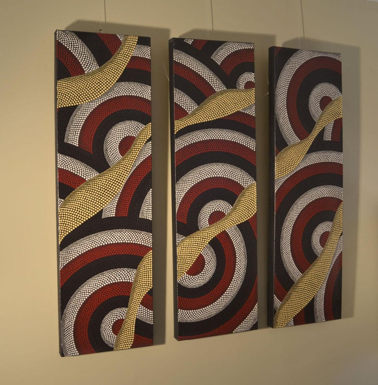 Australian Triptych of Contemporary Aboriginal Paintings For Sale