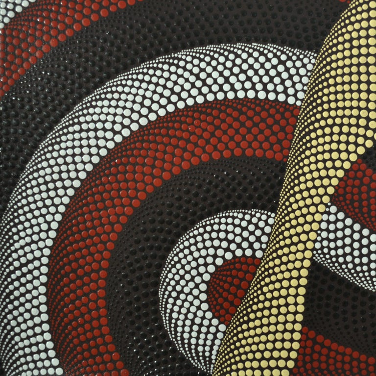 Triptych of Contemporary Aboriginal Paintings In Excellent Condition For Sale In London, GB