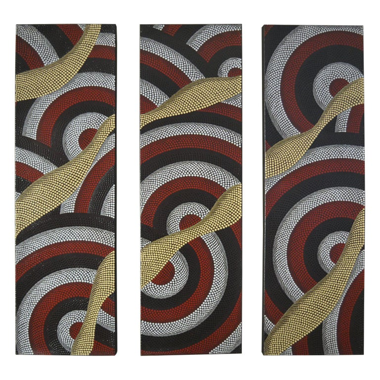 Triptych of Contemporary Aboriginal Paintings For Sale
