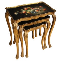 Triptych of Italian Coffee Tables in Gilded and Painted Wood, 20th Century