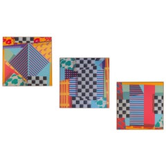 Triptych of Large Scale 1980s Abstract Paintings