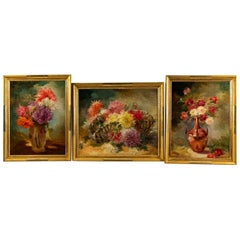 Triptych of Oil on Canvas Representing Still Lifes by Gaston Noury