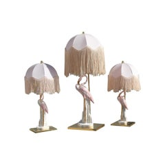 Triptych Table Lamps Flamingos Pink Brass Pink Italian Design, 1970