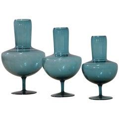 Triptych Venini Vittorio Zecchin Blown Glass Vases Attributable, 1950s