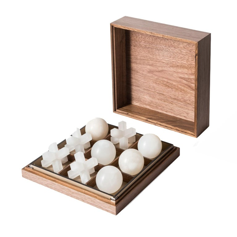 Italian Tris Box with Alabaster Pieces For Sale