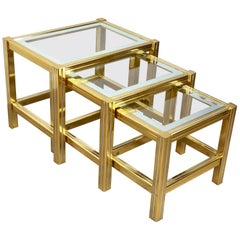 Tris of Increasing Dimensions Side Coffe Table in Brass, Glass and Chrome, 1970s