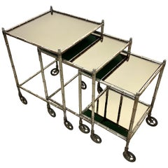 Tris of Maison Baguès Silvered Brass Faux Bamboo Nesting Bar Cart, 1960s, France