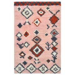 Trish, Bohemian Shaggy Moroccan Hand Knotted Area Rug, Rose