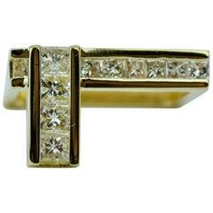 Trisko 18 Karat Yellow Gold Channel Set Princess Cut Diamond Square Ring