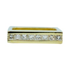 Trisko 18k Yellow Gold Channel Set Princess Cut Diamond Square Ring