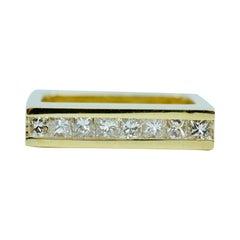 Trisko 18k Yellow Gold Channel Set Princess Cut Diamond Square Ring