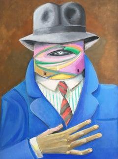Large Surrealist Portrait, Stylish Multi Coloured Oil Painting