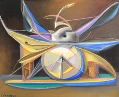 Large Surrealist Object, Multi Coloured Oil Painting