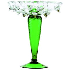Tristano Medium Glass Fruit Stand with Green Base by Borek Sipek for Driade