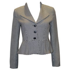 Tristar of Canada Black and White Fitted Jacket with Peplum