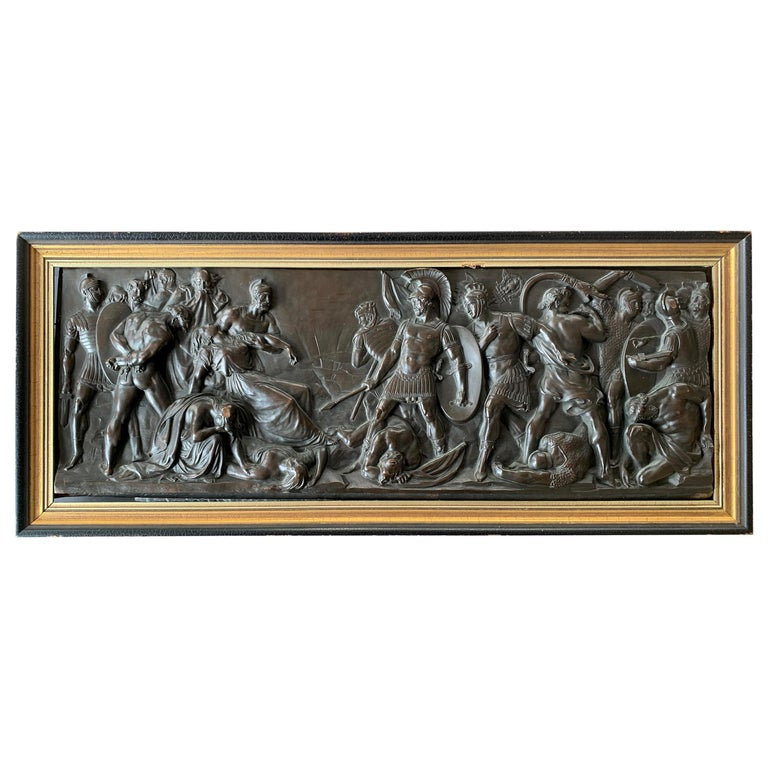 """""""Triumph of Rome,"""" Bronze Relief Panel with Frieze of Roman Soldiers and Nudes For Sale"""