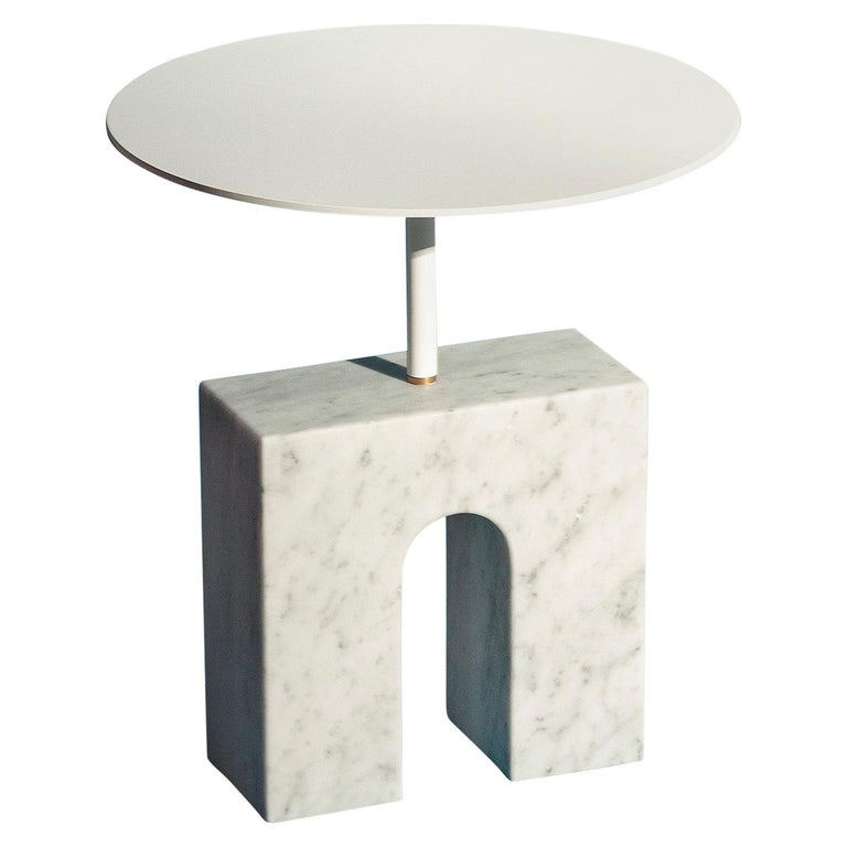 """""""Triumph Table"""" Minimalist Side Table in Carrara Marble For Sale"""