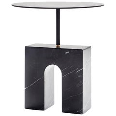 """Triumph Table"" Minimalist Side Table in Marquina Marble"