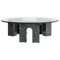 """Triumph Table T"" Minimalist Coffee Table in Marquina Marble and Glass"
