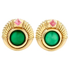 Trojan Onyx Pink Tourmaline 18 Karat Green Gold Circular Earrings