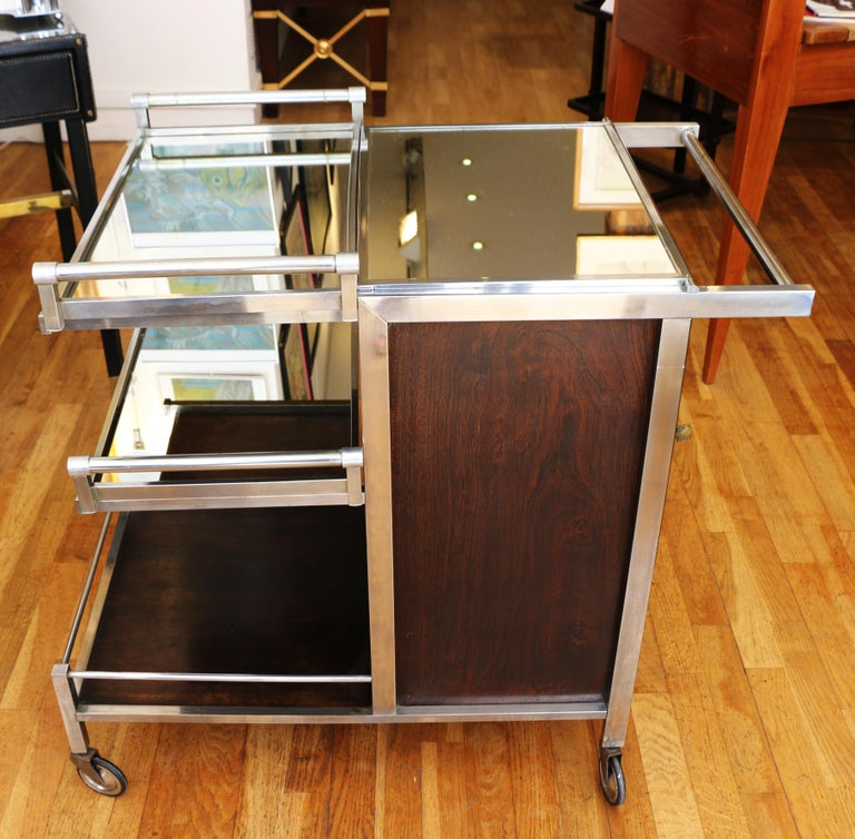 Plated Trolley Bar by Jacques Adnet, France, 1930s For Sale