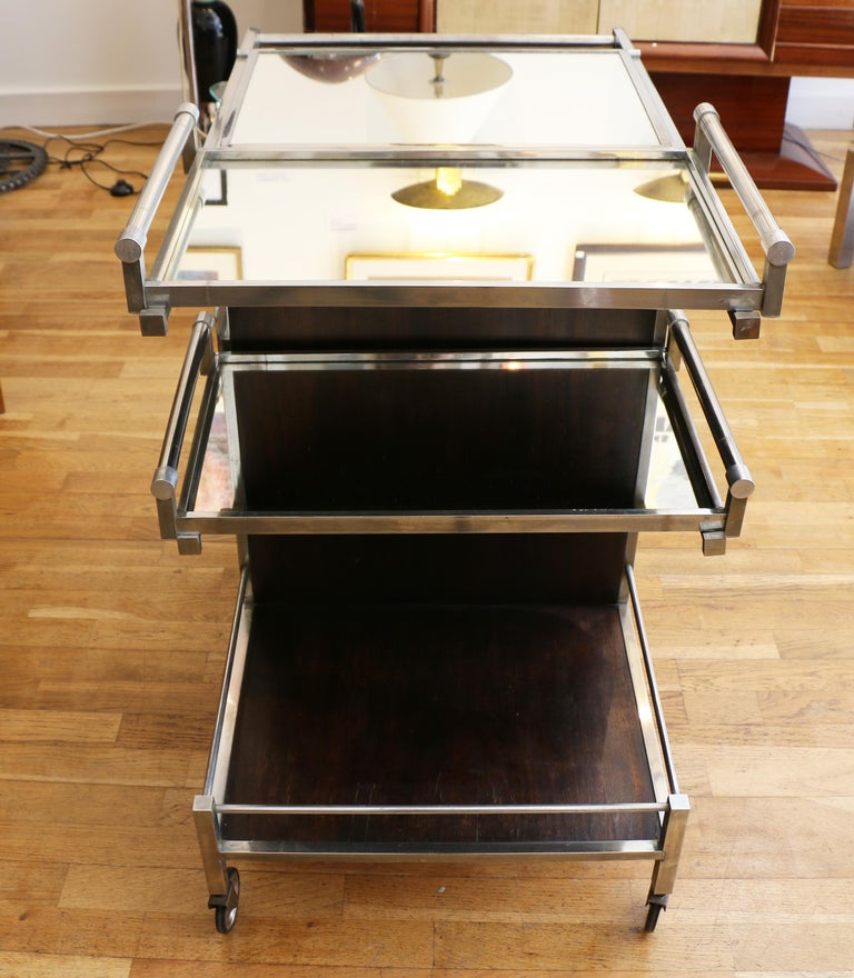 Trolley Bar by Jacques Adnet, France, 1930s In Good Condition For Sale In Paris, FR