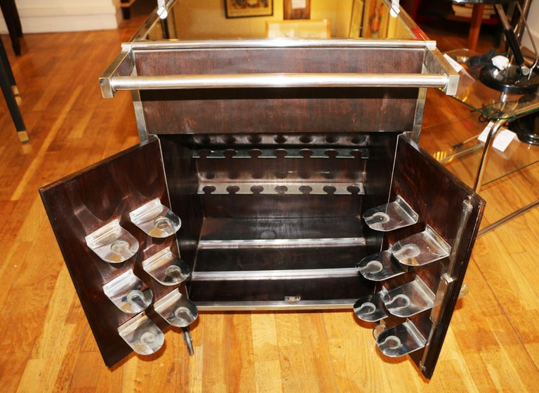 Mid-20th Century Trolley Bar by Jacques Adnet, France, 1930s For Sale