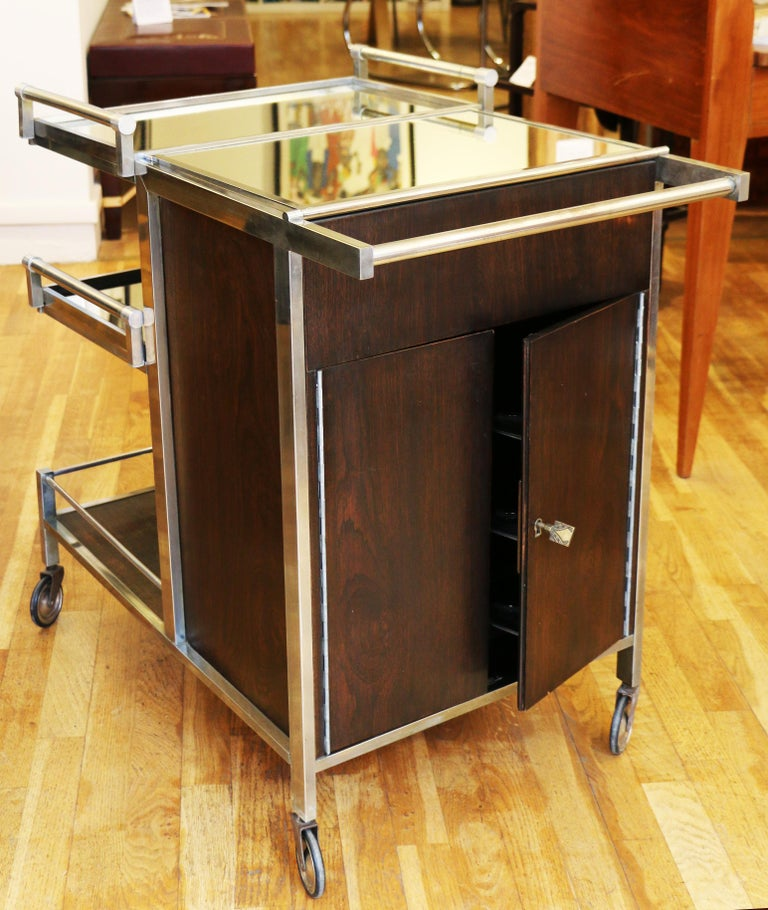 Metal Trolley Bar by Jacques Adnet, France, 1930s For Sale