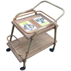 Trolley Bar in Rattan with Roger Capron Ceramic Tiles, circa 1950