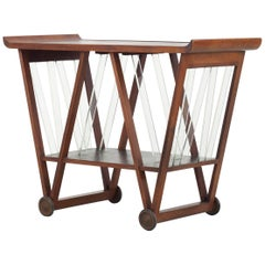 Italian Stained Wood Trolley with Lion Figure, 1940s