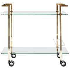 Hollywood Regency Art Deco Brass Frame Glass Trolley Peter Ghyczy Netherlands