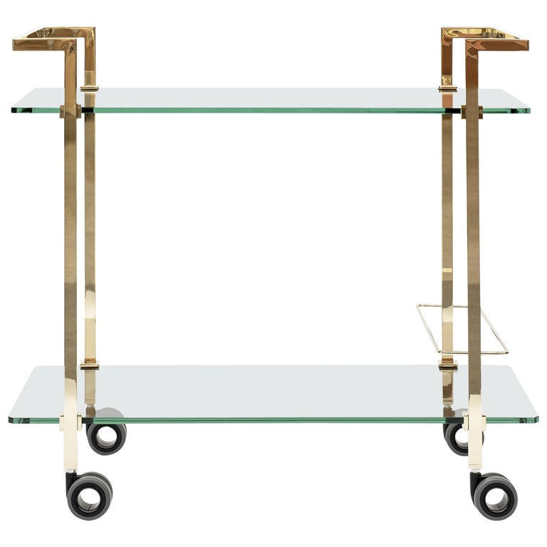 GHYCZY Trolley Doris T63 Frame Brass Gloss, Clear Glass For Sale