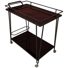 Trolley or Bar Cart in Lacquered Wrought Iron, Trays in Black Opaline 'Marbrite'
