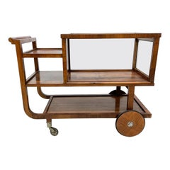 Trolley Service Bar Cart or Bakery Table in Rosewood Art Deco Period