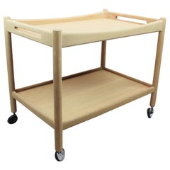 Trolley Table of Soap Treated Oak Designed by Hans J. Wegner, 1960s