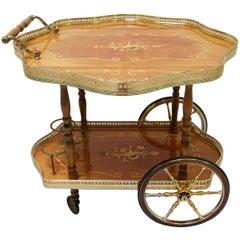 Trolley Table Side Table Trolley Bar Gold Inlaid Tea