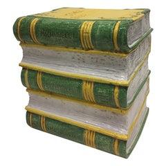 Tromp l'oeil Stack of Books Glazed Terracotta Italian Side Table Garden Seat
