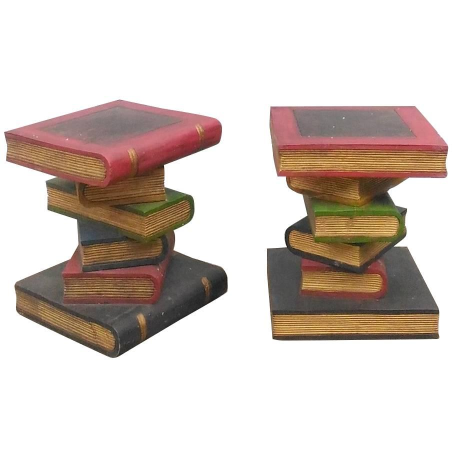 Trompe Lu0027Oeil Book Shaped End Tables, Circa 1970 For Sale