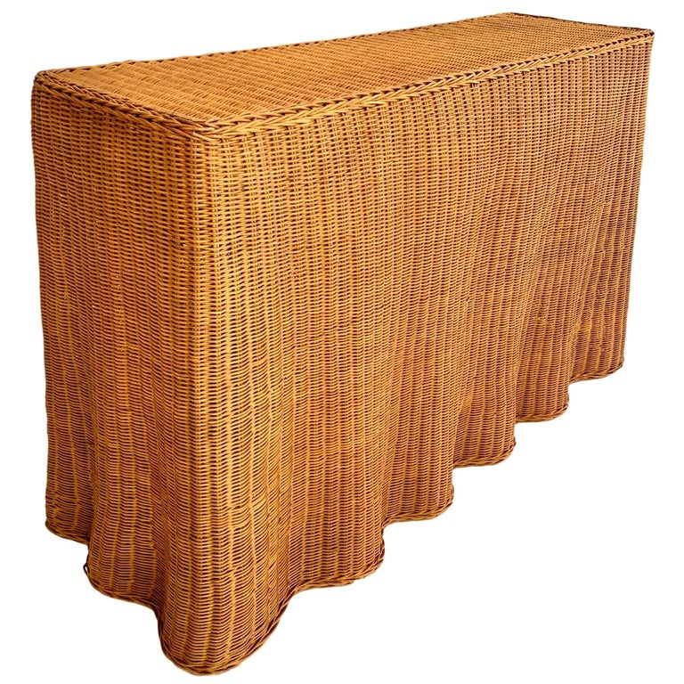 Trompe L Oeil Draped Wicker Ghost Console Table For Sale At 1stdibs